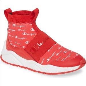 Champion Rally Script High Top Sock Sneaker Scarle